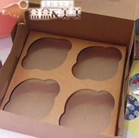 Free shipping  Muffin Cup Cake Box  kraft retro cassette West Point case cookie pudding box 4 grid 11.5*11.5*7.5cm 30pcs/lot
