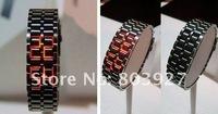 мужской стиль красный &синий светодиод металл лава стиль железо самурай часы