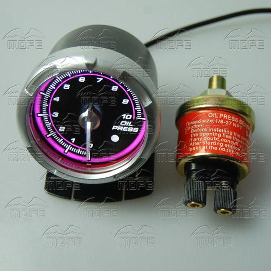 60MM Pink Blue LED Backlight Sensor + Stepping Motor Defi ADVANCE C2 Oil Pressure Press Gauge Meter DSC_0341