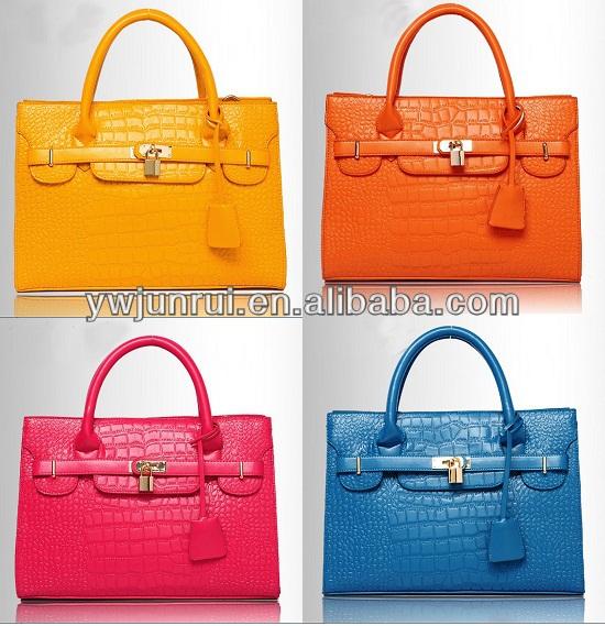 2014 Newest crocodile leather handbag lady tote handbag with padlock