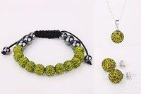 10mm Popular Wholesale Shamballa bracelet stud Earrings Olivine Crystal Ball pendant Necklace jewelry Sets