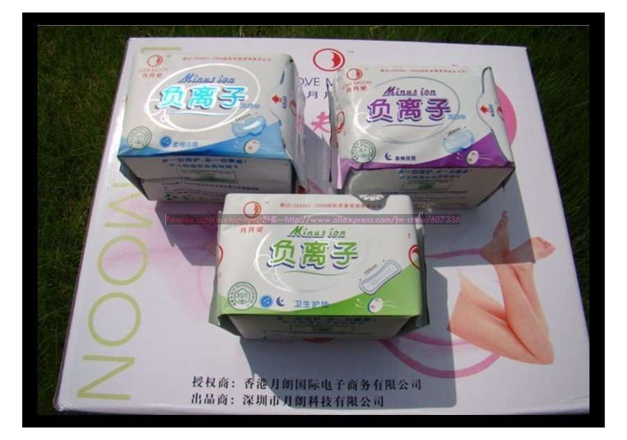 Free shipping Winalite Lovemoon Anion Sanitary napkin, Sanitary towels, Sanitary pads Panty liners 30pcs/package 19 packages/lot
