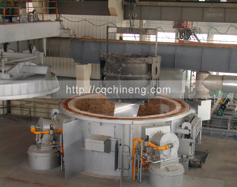 18T-100T round roof regenerative aluminium melting furnace gas type