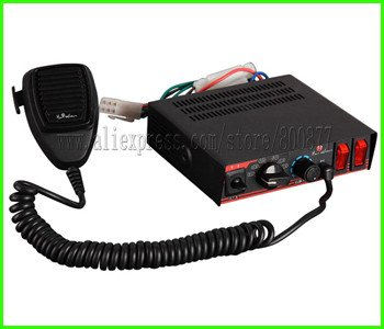 (CJB-100A) 100W Car ambulance Siren, DC12V, 7 tones, with Microphone, with 2 light switches PA alarm system (without speaker)