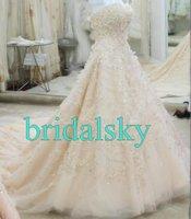 Свадебное платье Champagne Swarovski crystals Sweetheart Chapel Train A-Line Wedding Gowns Bridal Dresses H-532