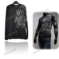 Мужская футболка fashion men's Korean Textile Printing cotton Slim Fit Round Collar Long Sleeve T-shirt L, XL, XXL 7556