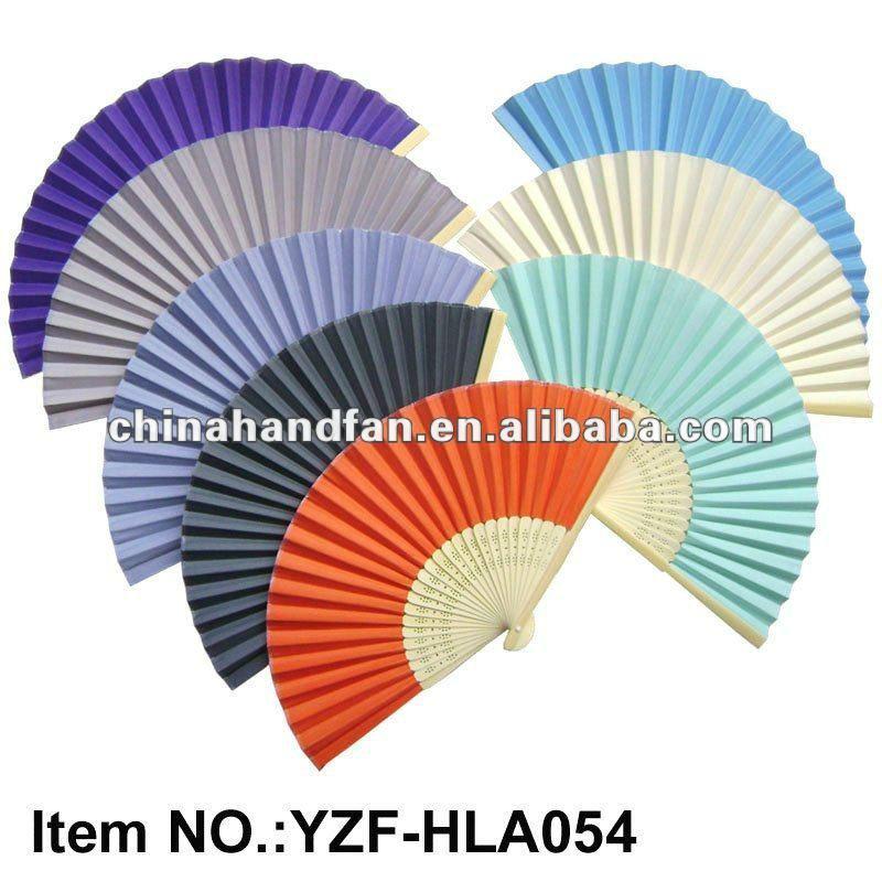 couleur unie vierge ventail en papier pour cadeaux de mariagebambou 30x130x150mm - Eventail Pas Cher Mariage
