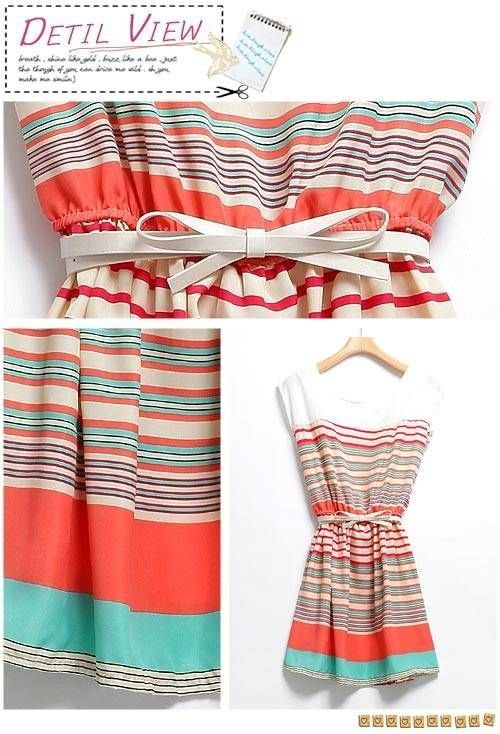 2012 New Arrivals Stripe dress!  Colorful Stripes Mini Dress Free Bowknot Belt Womens Dresses free shipping!