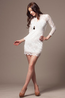 Free shipping  New Fashion  For Wome  Tony  Lace  Party  Black  & White  Two colors for Choose Dress retail  Wholesale#12488