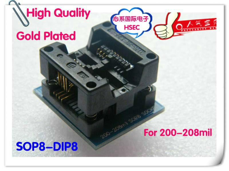 SOIC SOP8 to DIP8 Programmer Adapter Socket Wide 200mil 208mil Vergoldet A3