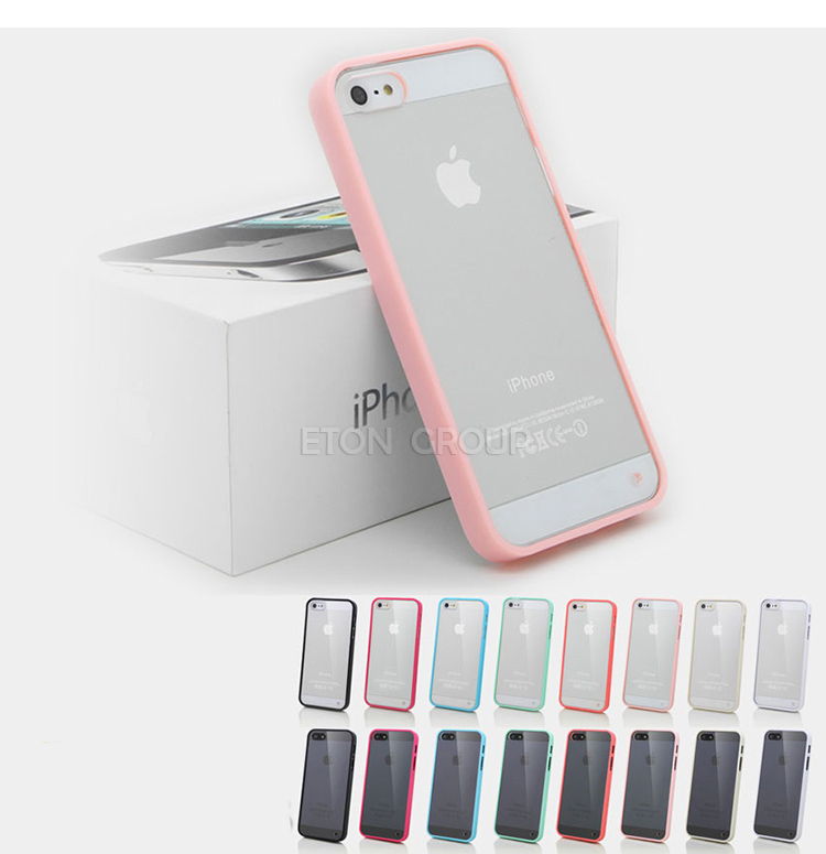 Slim clear Hard TPU Frame Hybrid Case Cover FOR Apple iPhone 5