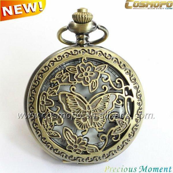 Chino relojes de bolsillo antiguos con hueco de la mariposa caso
