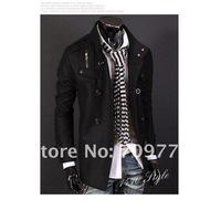 Одежда и Аксессуары HOT! Fashion Mens Casual Slim Double Breasted PEA Woolen Trench Jacket Overcoat