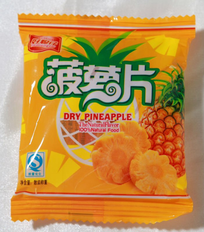single packed dried pineapple