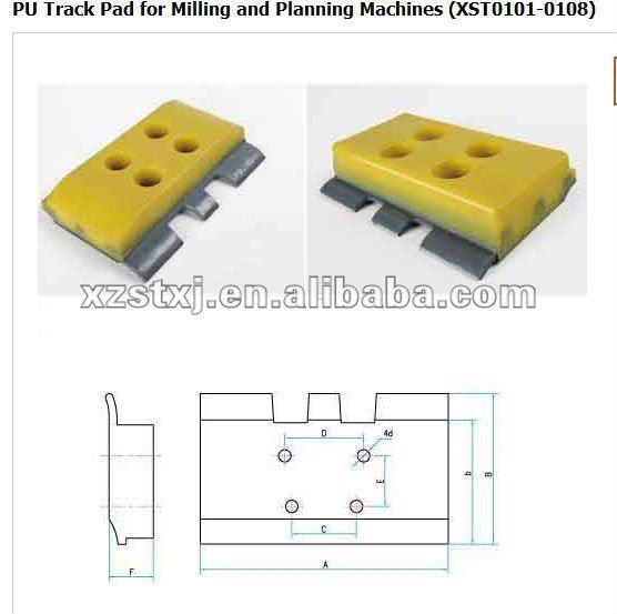 polyurethane unitary rype track pad for milling machine