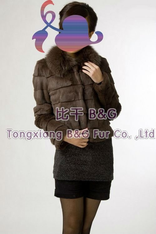 BG787 Genuine Rabbit Fur Jackets with Fox Fur Collar OEM Wholesale/Retail