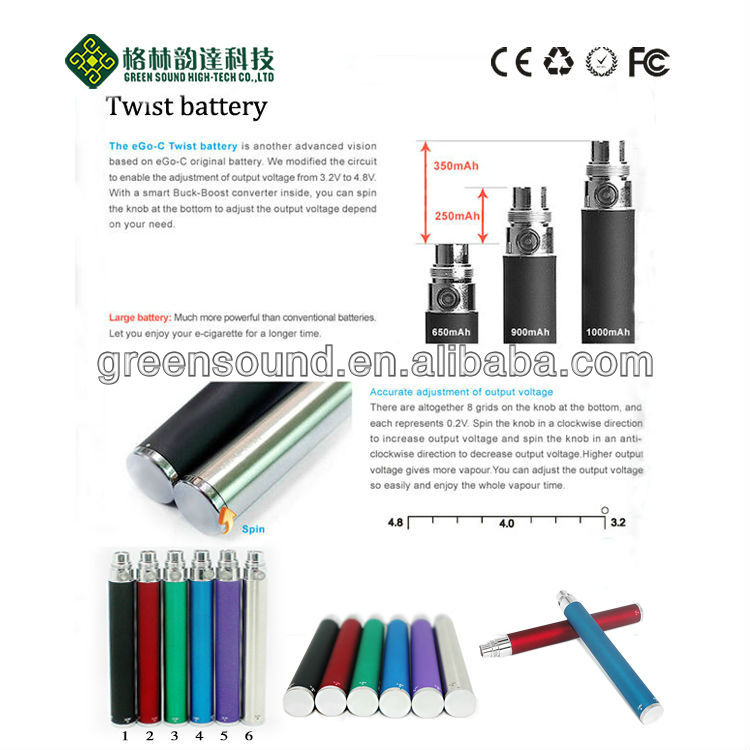 2013 top selling ego LCD LED twist batteries wholesale