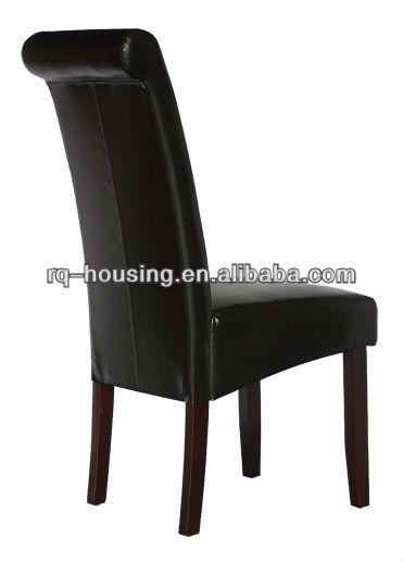 High Back Dining Chair Hot Sale Black Pu Leather With High Back Dining Chair