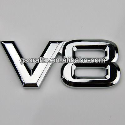 v8 abs chromed silver plastic car sticker letters