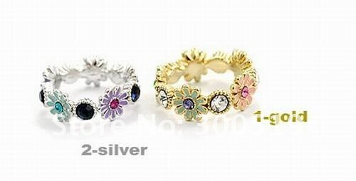 Unique style Retro daisy flower ring  colorful diamond finger ring FreeShipping