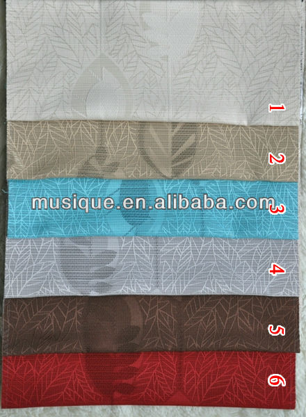 100% polyester jacquard leaf design curtain fabric