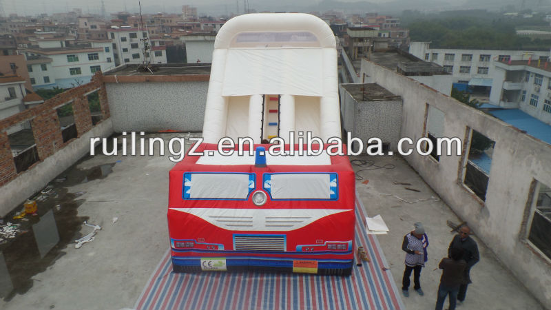 giant new design inflatable dry slide/inflatable fire truck slide