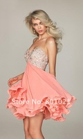 Коктейльное платье 2012 Summer Chiffon A-line Sweetheart Knee Length Short Strapless Prom Homecoming Dress