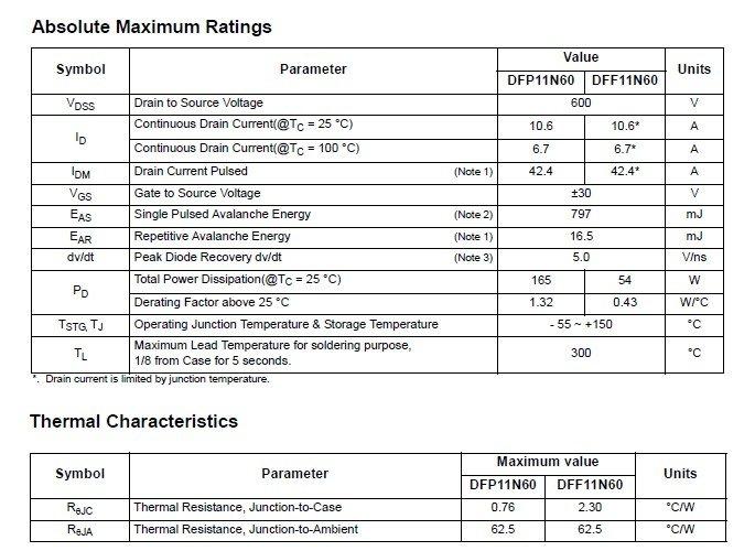 11N60 полевой моп-транзистор