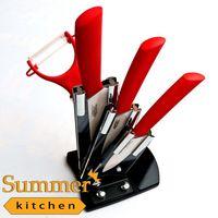 Керамический нож фруктовые наборы 3 4 5 дюйма + Керамические Овощечистка + держатель + коробка цвета