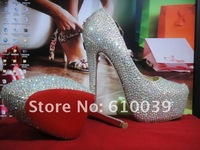 Туфли на высоком каблуке 140&160mm high heels 2012 rhinestone platform pumps wedges ladies high heel shoes wedding Bridal shoes