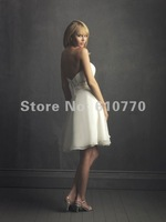 Wholesale Custom Made Strapless Sweetheart Empire Chiffon Short Wedding Gown SW-0007