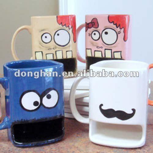 Cookie holder mug china manufacturer buy ceramic cookie holder mug