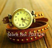 Наручные часы 8 pcs/lot Vintage Leather Studded Rivet Wrap Watch Punk Bronze Rivet Bracelets Watch-4 colors assorted