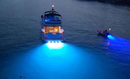 2pc x 27w 10 30v blue color led transom light underwater. Black Bedroom Furniture Sets. Home Design Ideas