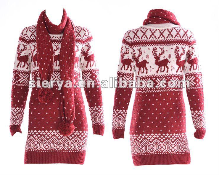 Купить Вязаное Платье С Оленями