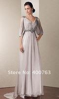 Well Design  Chiffon Beaded Details Long V Neck Split  Sleeve Dresses