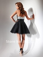 Коктейльное платье Hot Sale A-line Sweetheart Tulle Rhinestone Black Short Party Mini Cocktail Dresses