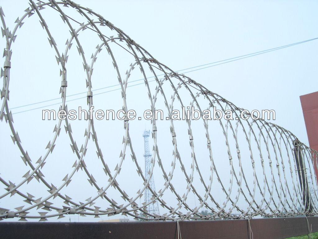Double Loop Security Concertina Razor Barbed Wire With Pallet - Buy ...