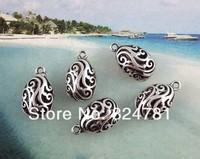 Брелок Fashion 30 Pcs Tibetan Silver Floral Oval Charms Pendants 20.5 x12.5mm Jewelry DIY X246