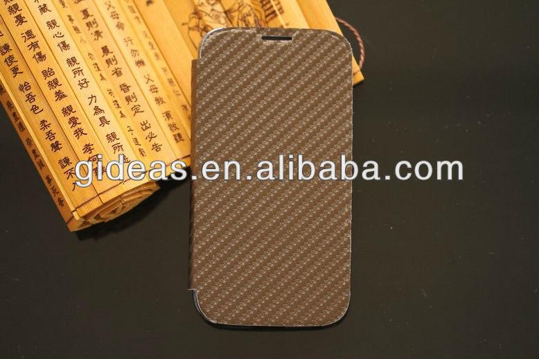 Carbon Fiber flip Leather Case for Samsung Galaxy S4 S IV i9500 Brown