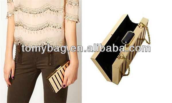 Gold metallic woman handbag 2013 made in china