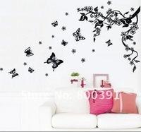съемный & restickable стены стикер jm8062 1шт бабочка & цветок винограда дома стены дома наклейку деколи 500x700mm