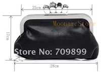 Клатч Elegant women Brand New PU Leather Women 4 skeleton decorations Clutch Purse Handbag Ring Bag for evening party bags B061