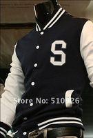 2012 Mens Trendy New Varsity Letterman Hoodie Baseball Jacket Slim designed Coat Size M-XXL Navy Wine red Black