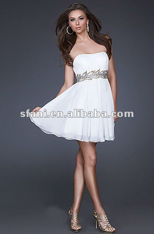 SD-002 2012 Hot Sale Strapless Beaded Waist White Chiffon Cocktail Dress