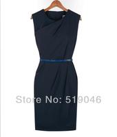 Женское платье Womens Sleeveless Solid Knee-Length Dresses Summer New Fashion Chiffon Work Dress for women Ladies With Belt Free Ship