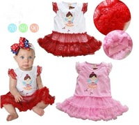 Платье для девочек Baby jumpsuit + fashion tutu princess skirt ~red pink /retail