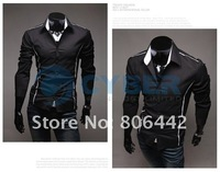 Мужская повседневная рубашка 2012 Men's Shirts Korean Fashion Stylish Casual Trim Slim Fit Dress Long Sleeve