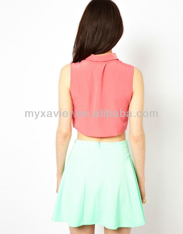 wholesale brand name clothes sleeveless crop top custom