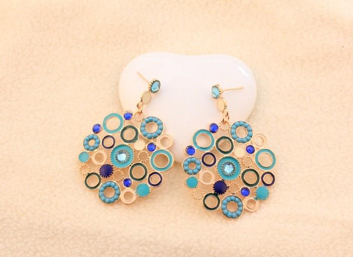 Серьги-гвоздики Earrings blue diamond